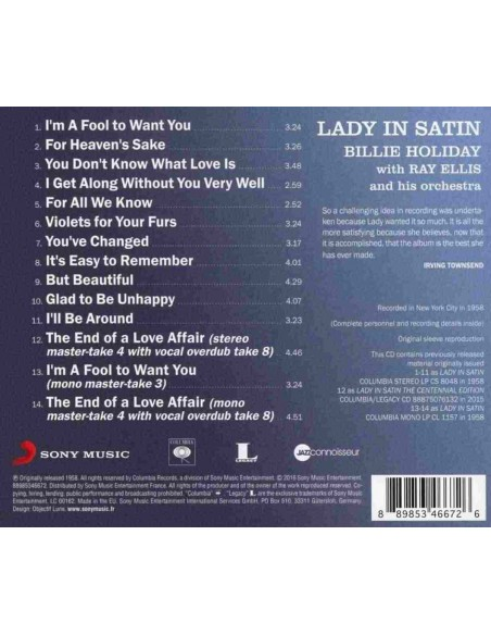 Lady In Satin. Jazz Connoisseur (1 CD)