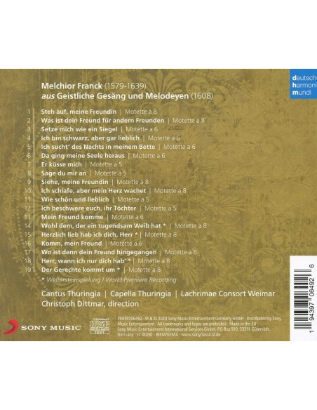 Melchior Franck: Geistliche Gesäng Und Melodeyen (1 CD)